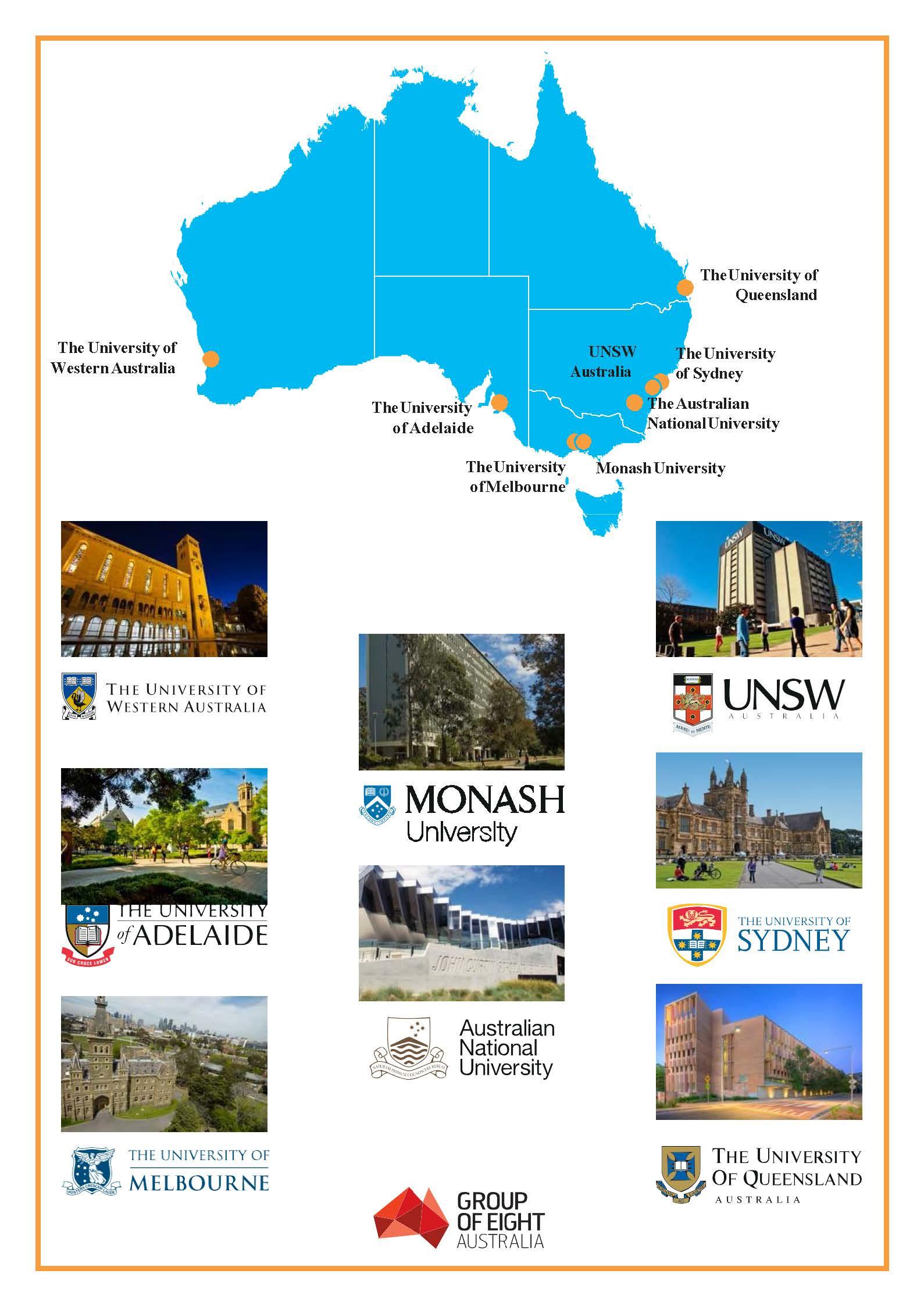 Thông tin về các trường đại học nằm trong nhóm Go8 - Úc